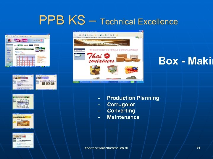 PPB KS – Technical Excellence Box - Makin - Production Planning - Corrugotor -