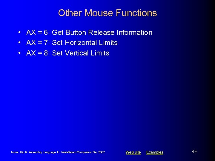 Other Mouse Functions • AX = 6: Get Button Release Information • AX =