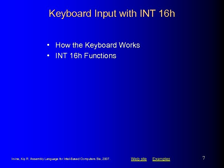Keyboard Input with INT 16 h • How the Keyboard Works • INT 16