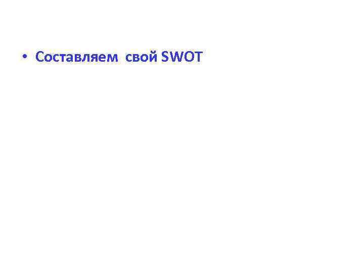 • Составляем свой SWOT