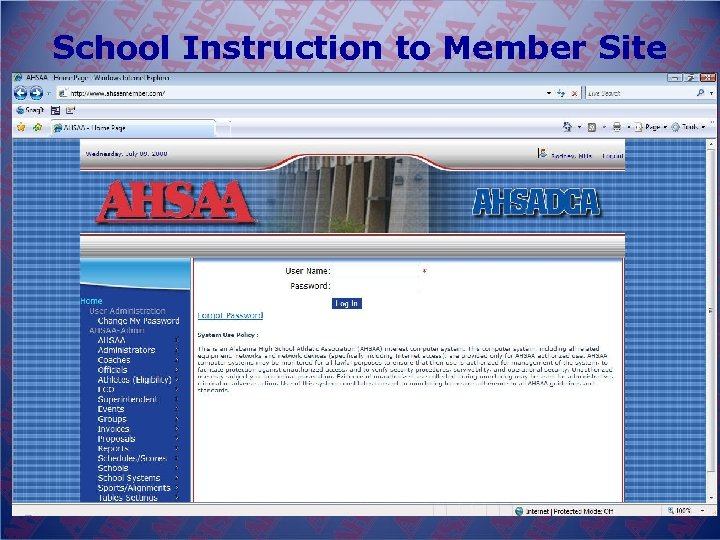 School Instruction to Member Site