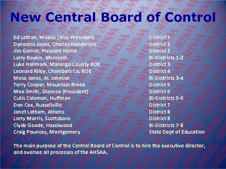 New Central Board of Control Ed Lathan, Mobile (Vice-President) Dyneshia Jones, Charles Henderson Jim