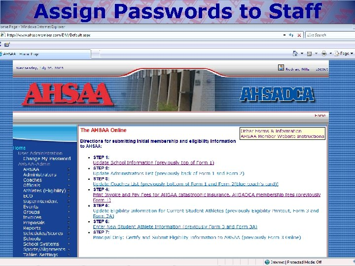 Assign Passwords to Staff