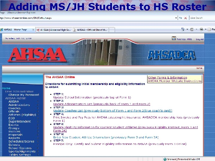 Adding MS/JH Students to HS Roster