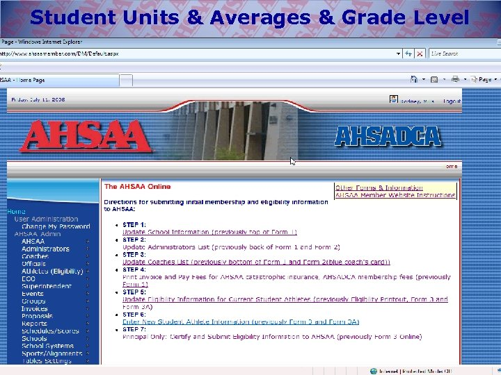 Student Units & Averages & Grade Level