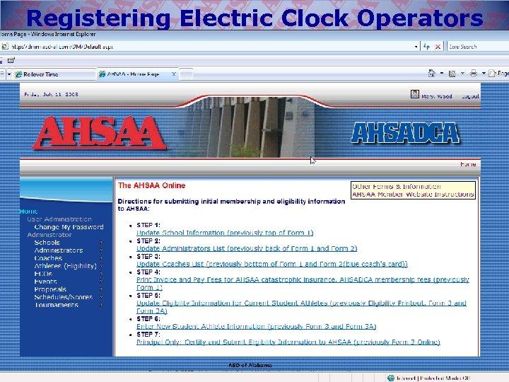 Registering Electric Clock Operators