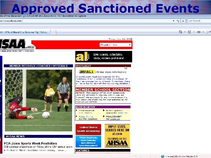 Approved Sanctioned Events