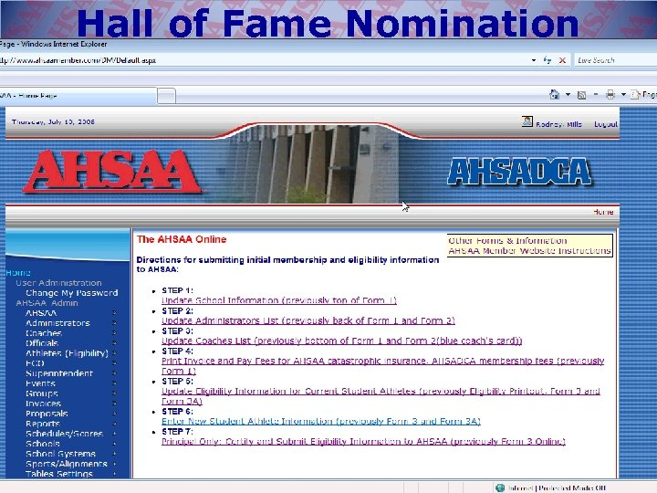 Hall of Fame Nomination