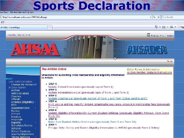Sports Declaration