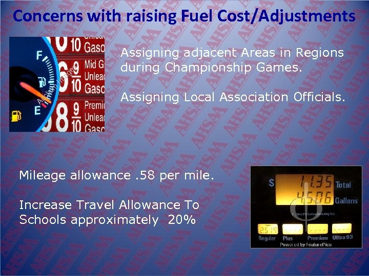 Concerns with raising Fuel Cost/Adjustments Assigning adjacent Areas in Regions during Championship Games. Assigning