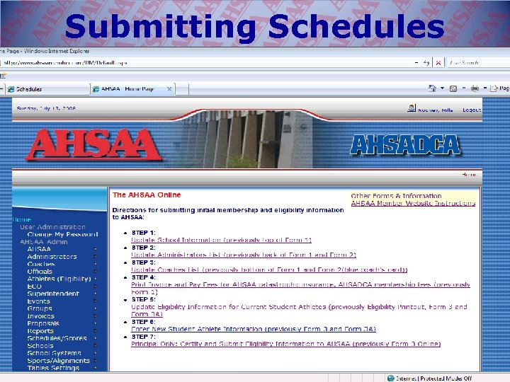 Submitting Schedules