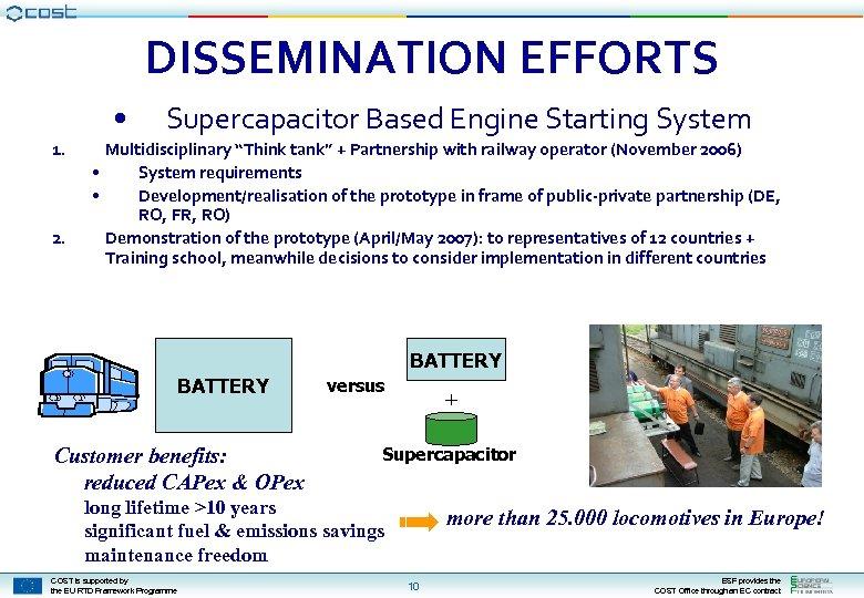 "DISSEMINATION EFFORTS • 1. 2. Supercapacitor Based Engine Starting System Multidisciplinary ""Think tank"" +"