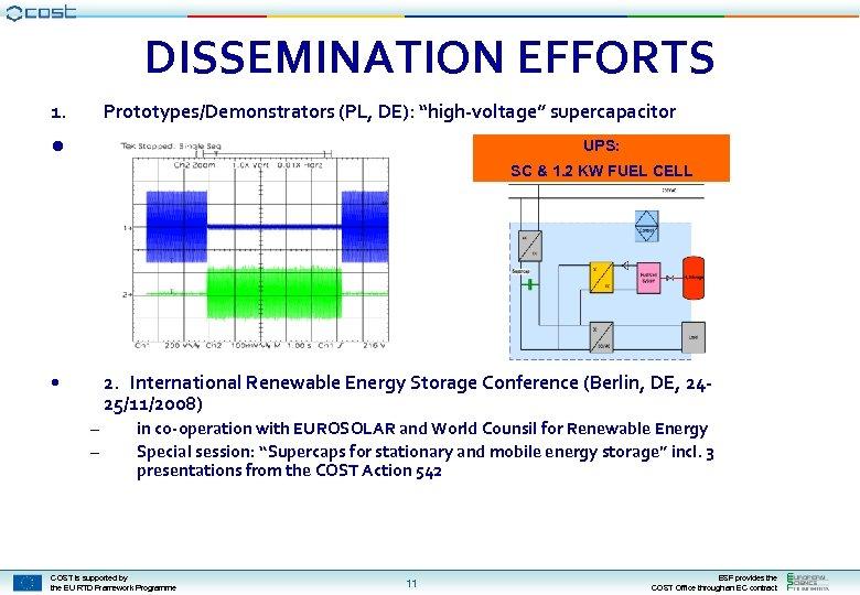 "DISSEMINATION EFFORTS 1. Prototypes/Demonstrators (PL, DE): ""high-voltage"" supercapacitor • UPS: SC & 1. 2"