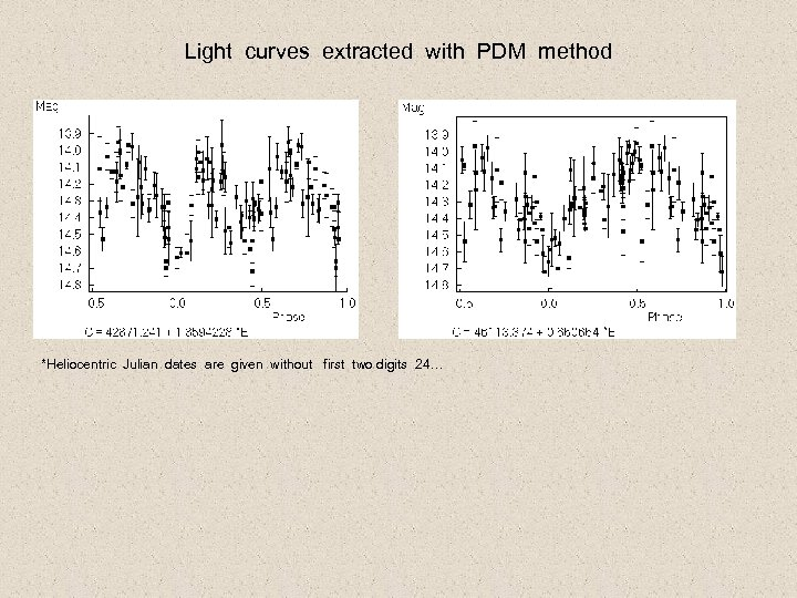 Light curves extracted with PDM method *Heliocentric Julian dates are given without first two