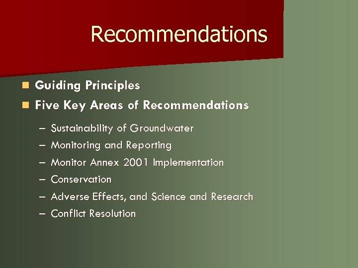 Recommendations Guiding Principles n Five Key Areas of Recommendations n – – – Sustainability