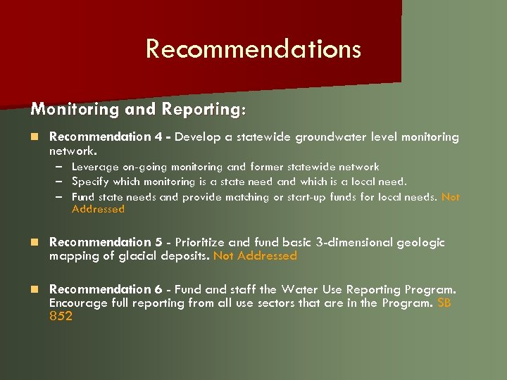 Recommendations Monitoring and Reporting: n Recommendation 4 - Develop a statewide groundwater level monitoring