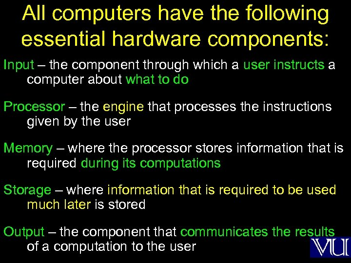 All computers have the following essential hardware components: Input – the component through which