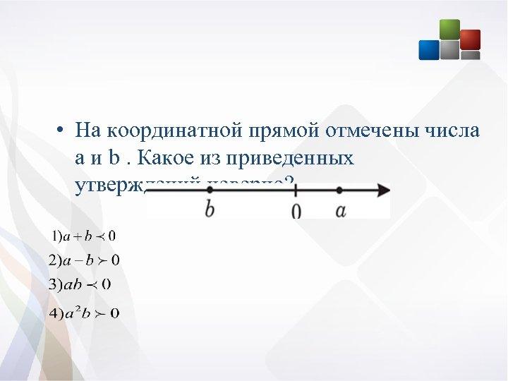 • На координатной прямой отмечены числа а и b. Какое из приведенных утверждений