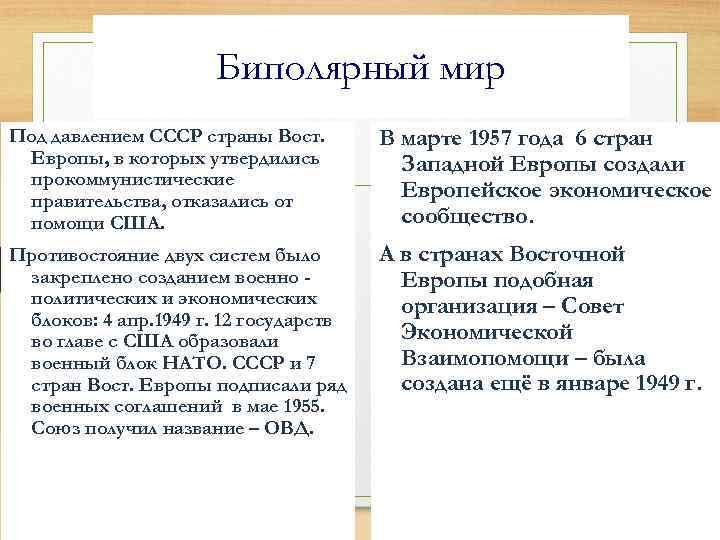 Биполярный мир Под давлением СССР страны Вост. Европы, в которых утвердились прокоммунистические правительства, отказались