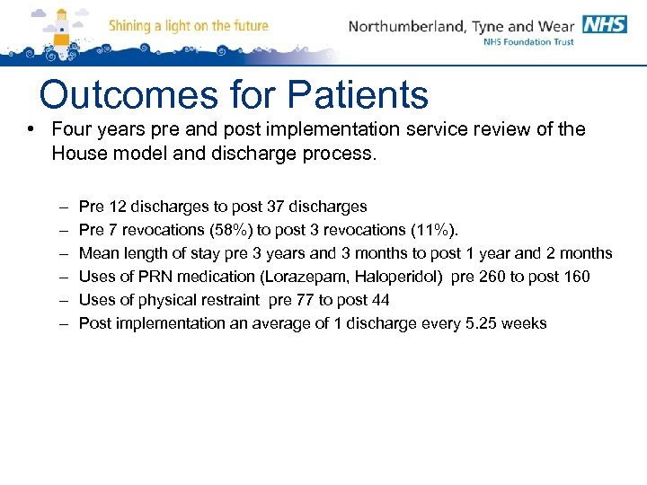 Outcomes for Patients • Four years pre and post implementation service review of the