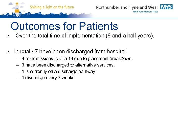 Outcomes for Patients • Over the total time of implementation (6 and a half