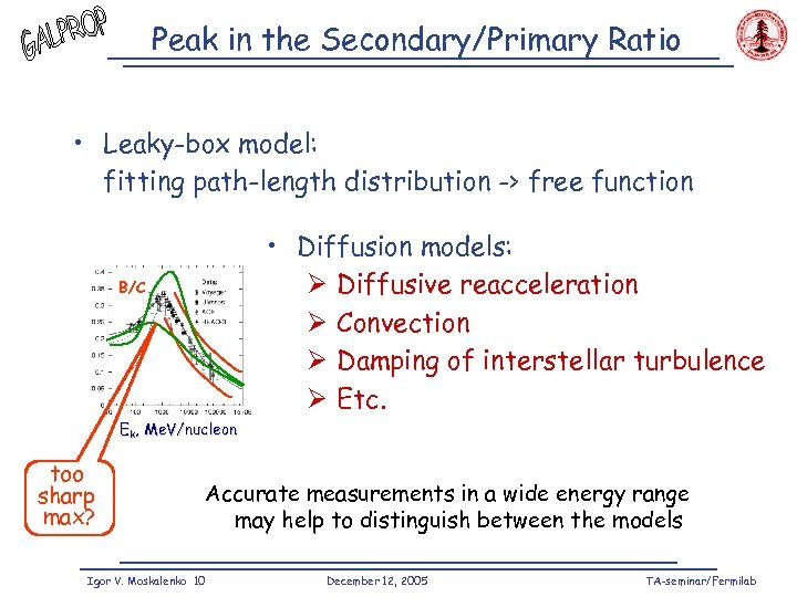 Peak in the Secondary/Primary Ratio • Leaky-box model: fitting path-length distribution -> free function