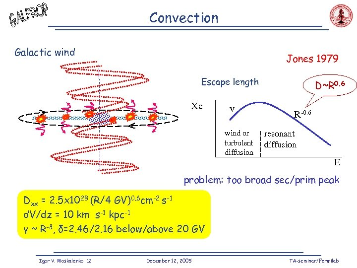 Convection Galactic wind Jones 1979 Escape length Xe v wind or turbulent diffusion D~R