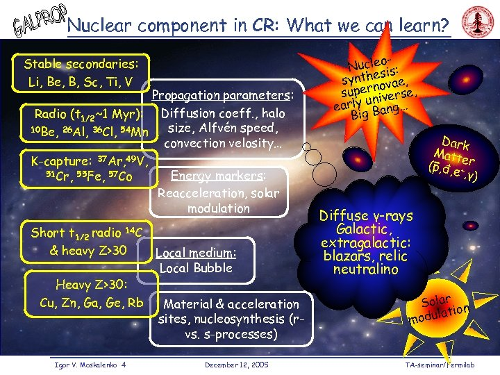 Nuclear component in CR: What we can learn? Stable secondaries: Li, Be, B, Sc,