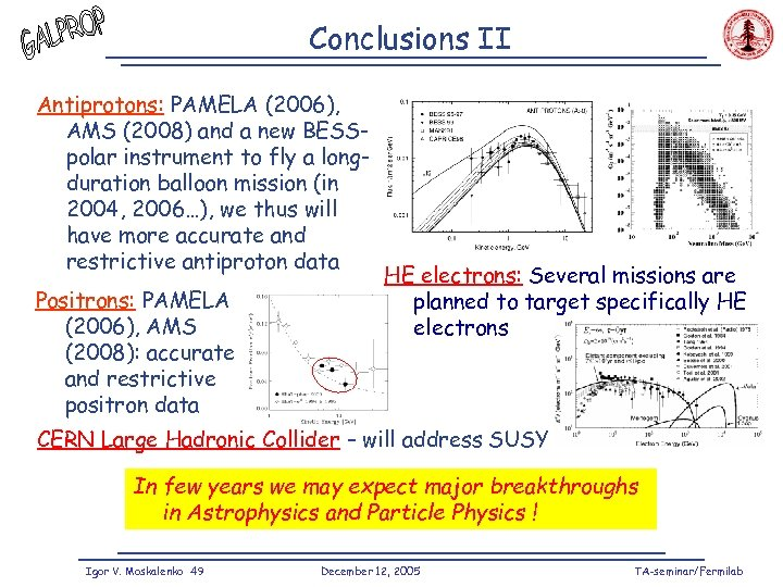 Conclusions II Antiprotons: PAMELA (2006), AMS (2008) and a new BESSpolar instrument to fly