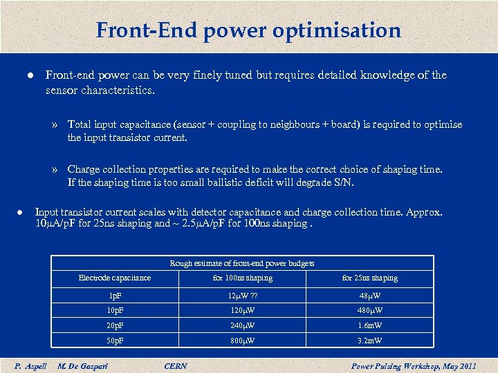 Front-End power optimisation l Front-end power can be very finely tuned but requires detailed