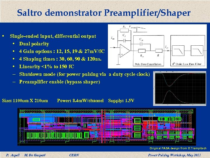 Saltro demonstrator Preamplifier/Shaper • Single-ended input, differential output • Dual polarity • 4 Gain