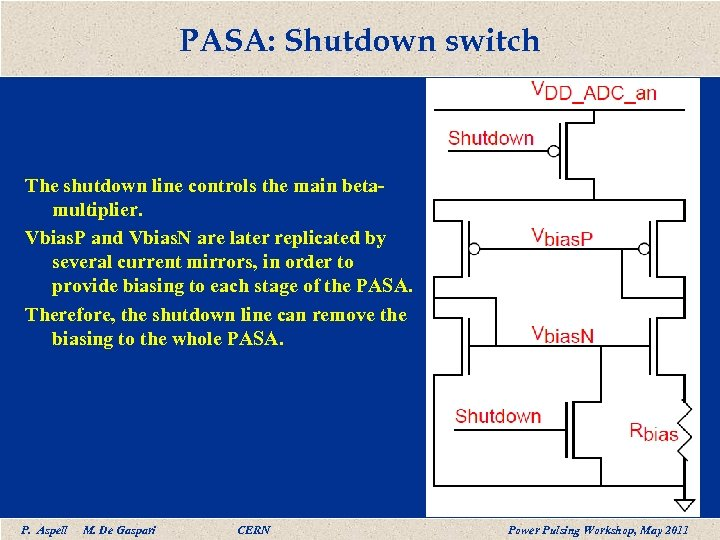 PASA: Shutdown switch The shutdown line controls the main betamultiplier. Vbias. P and Vbias.