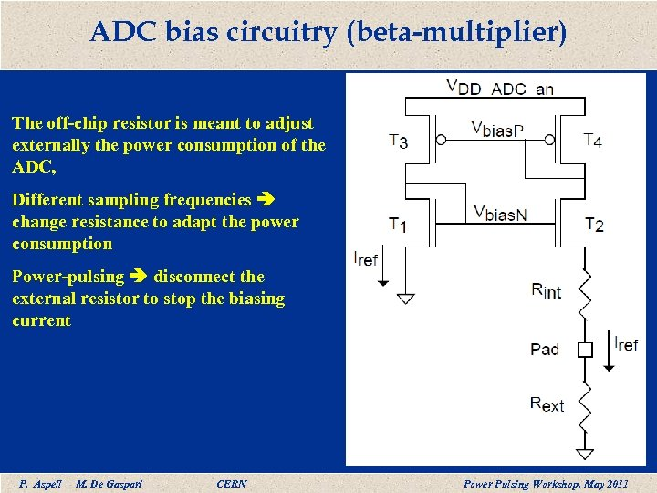 ADC bias circuitry (beta-multiplier) The off-chip resistor is meant to adjust externally the power