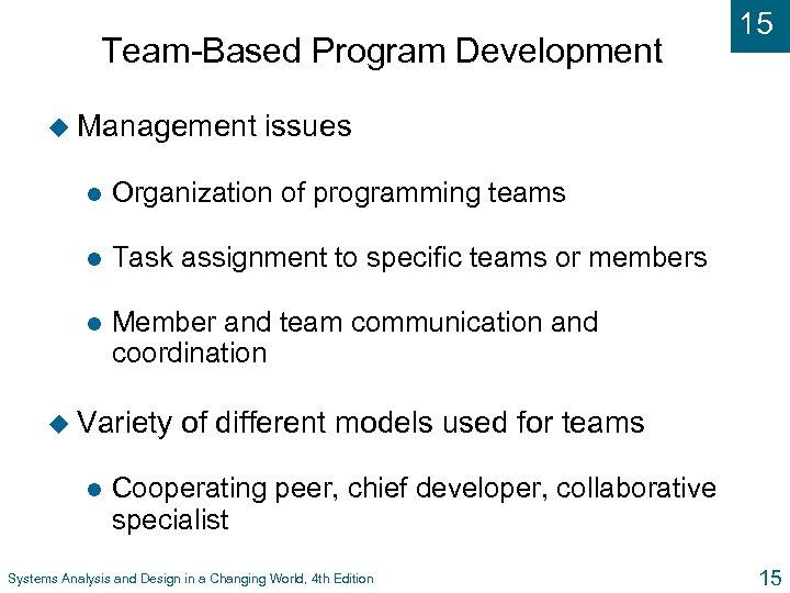 Team-Based Program Development u Management 15 issues l Organization of programming teams l Task