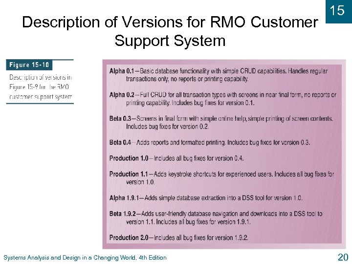 Description of Versions for RMO Customer Support Systems Analysis and Design in a Changing