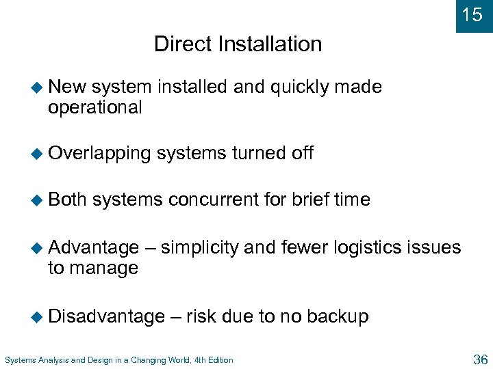 15 Direct Installation u New system installed and quickly made operational u Overlapping u