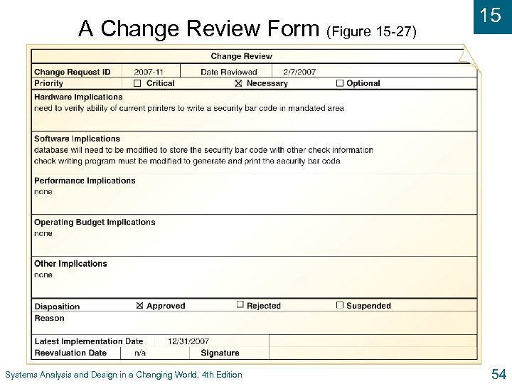 A Change Review Form (Figure 15 -27) Systems Analysis and Design in a Changing