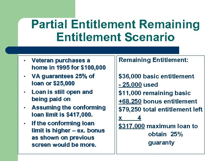 Partial Entitlement Remaining Entitlement Scenario • • • Veteran purchases a home in 1995
