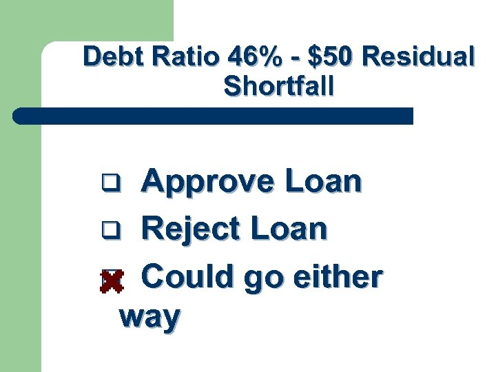 Debt Ratio 46% - $50 Residual Shortfall Approve Loan q Reject Loan q Could