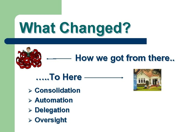 What Changed? How we got from there. . …. . To Here Ø Ø