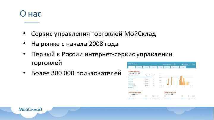 О нас • Сервис управления торговлей Мой. Склад • На рынке с начала 2008