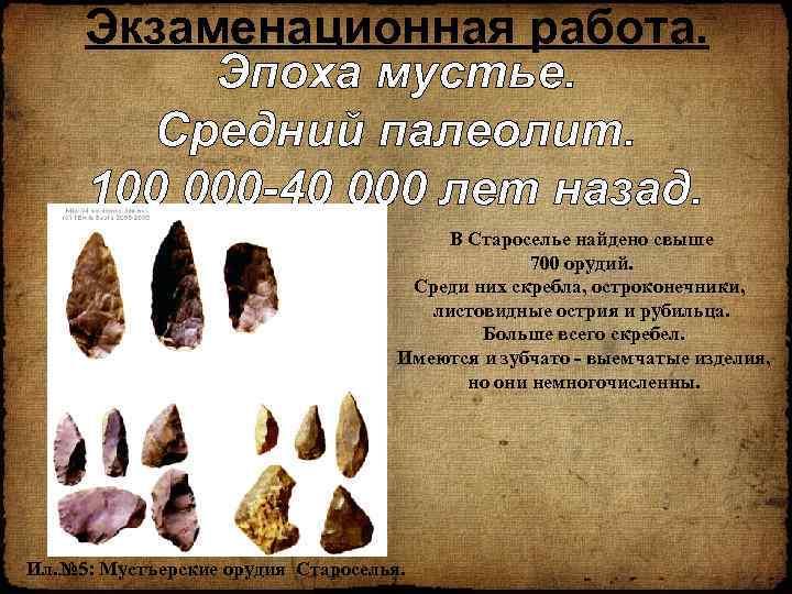 Экзаменационная работа. Эпоха мустье. Средний палеолит. 100 000 -40 000 лет назад. В Староселье