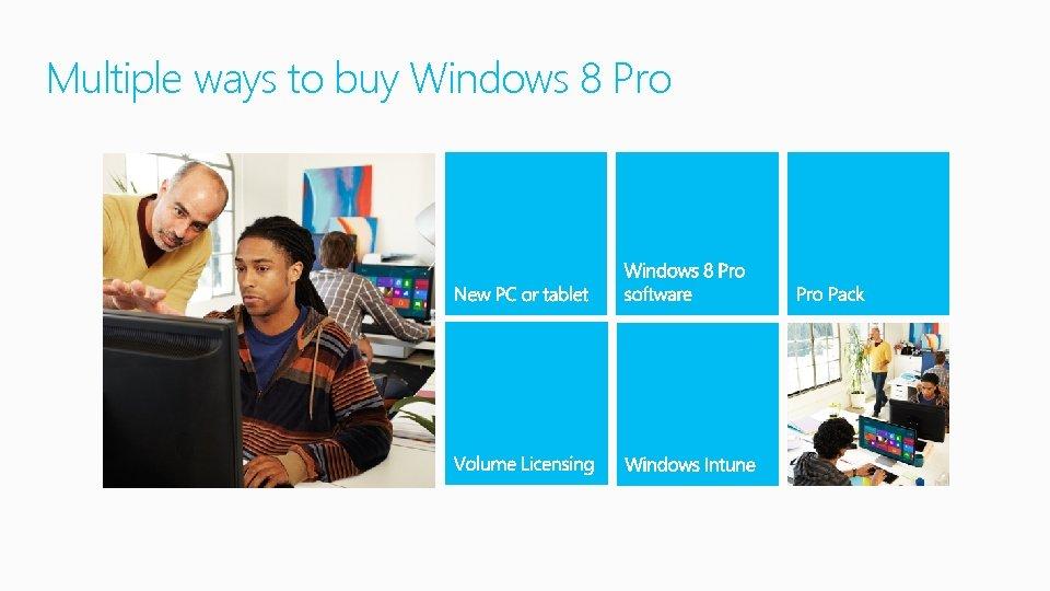 Multiple ways to buy Windows 8 Pro