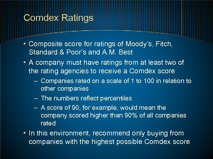 Comdex Ratings • Composite score for ratings of Moody's, Fitch, Standard & Poor's and