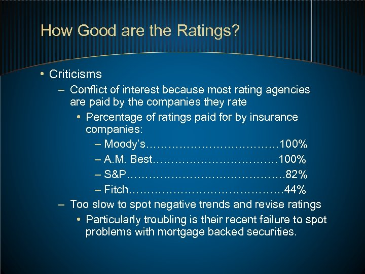 How Good are the Ratings? • Criticisms – Conflict of interest because most rating