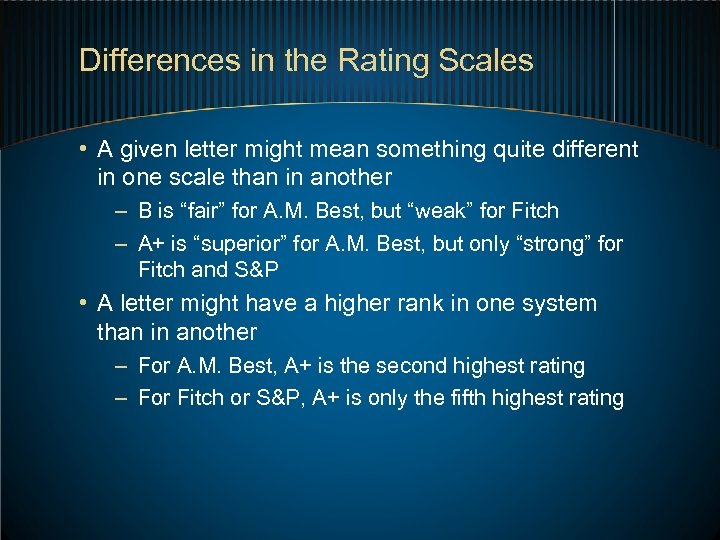 Differences in the Rating Scales • A given letter might mean something quite different