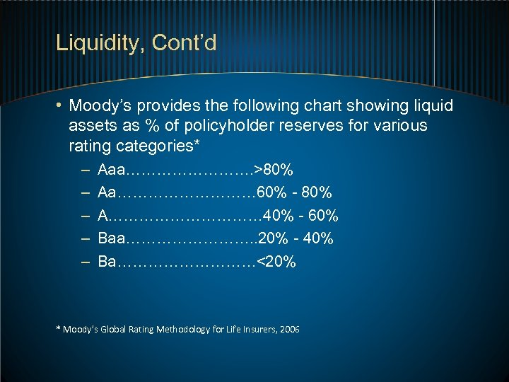 Liquidity, Cont'd • Moody's provides the following chart showing liquid assets as % of