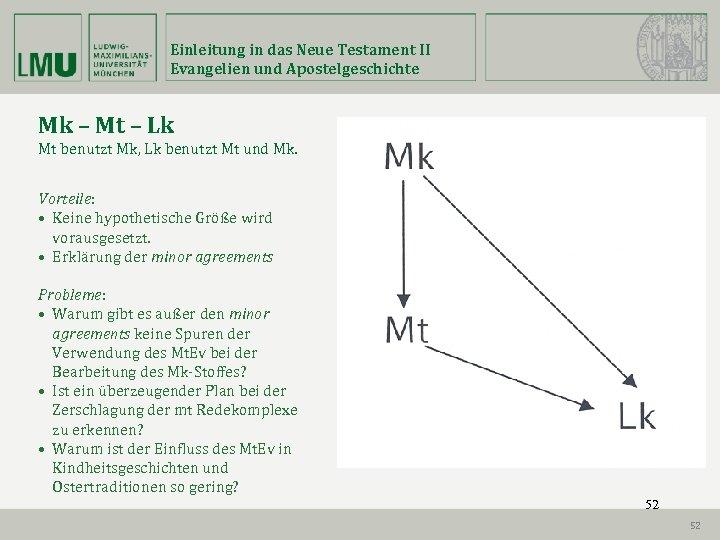 Einleitung in das Neue Testament II Evangelien und Apostelgeschichte Mk – Mt – Lk