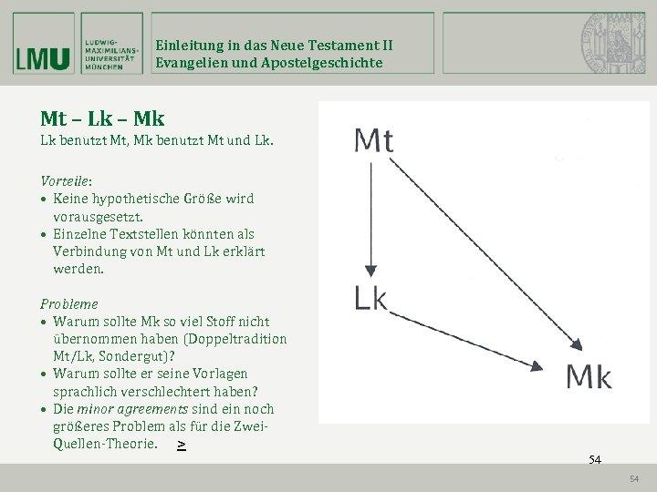 Einleitung in das Neue Testament II Evangelien und Apostelgeschichte Mt – Lk – Mk