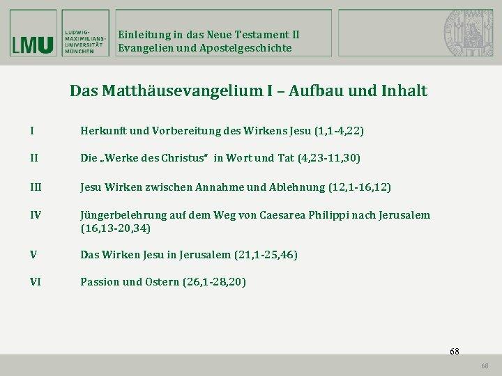 Einleitung in das Neue Testament II Evangelien und Apostelgeschichte Das Matthäusevangelium I – Aufbau